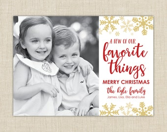 Christmas Photo Card- Favorite Things. Christmas Photo Card