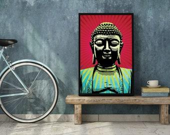 BUDDHA Illustration, Buddha Art, Yoga Studio Decor, Zen Print, Zen Yoga Studio Art, Buddha Art Print, Yoga Wall Art, Pop Art Buddha