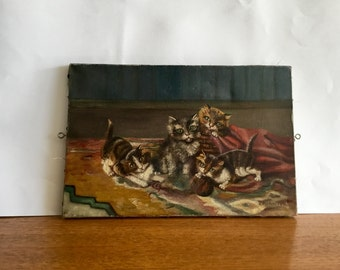 Vintage French Painting of a Room of Cats, Original art, Oil on Canvas, signed