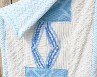Baby Blanket, Baby Boy, Chenille Blanket, Baby Blanket, Stroller Cover, Baby Shower Gift, Handmade Quilt, Lap Quilt, Shabby Chic Quilt