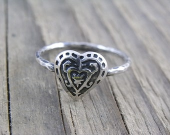 Sterling silver Quirky Voodoo Heart ring - size 8 - Ooak - not cast