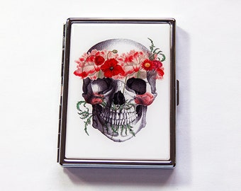 Slim Cigarette Case, Skull Cigarette Case, Cigarette Holder, Cigarette box, Halloween, Dia de los Muertos, Skull with Flowers (6018)