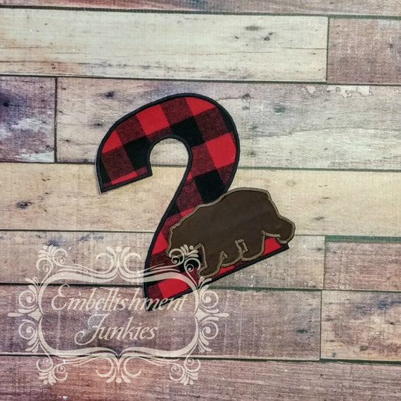 Lumberjack Birthday Number 2 Boy Embroidered Woodland Iron On