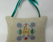 Deer Christmas Cross Stitched Woodland Ornament