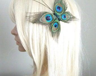 Butterfly Peacock Wedding Hair Clip Accessory, Peacock Feather Fascinator Hair Piece, Peacock Feather Hair Accessories, Butterfly Hair Clip