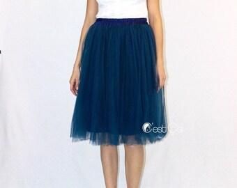 Claire - Navy Blue Tulle Skirt, Soft Tulle Skirt, Tea Length Tulle Skirt, Midi Tutu, Adult Tutu, Bridesmaids Skirt, Wholesale