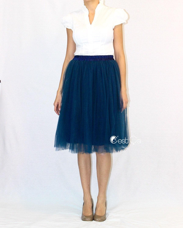 navy blue tulle skirt soft tulle skirt tea length