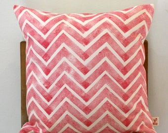 """Watermelon Pink Chevron Hand block printed decorative scatter cushion cover 18x18"""""""