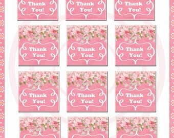 Instant Download, printable tags, printable labels, stickers, flower, digital clipart, printable thank you, collage sheet