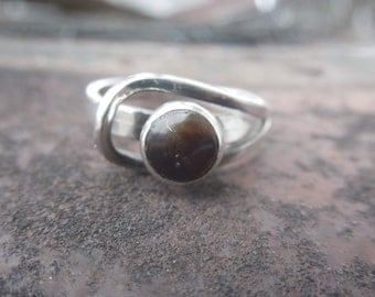 Mexican Modernist Sterling Silver Ring Tigers Eye Eage 1