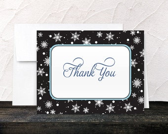 Winter Thank You Cards - Midnight White Snowflake Winter Aqua Navy Blue - Printed Cards
