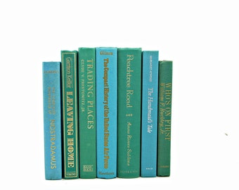 OCEAN Aqua Green  Decorative Books, Book Decor, Vintage Book Collection, Wedding Centerpiece, Old Book Set, Book  stack, Instant Library