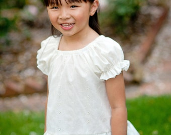 Girls Peasant Top - Girl Blouse - Under Dress - Toddler - Peasant Top - Blouse Pattern - White Blouse - Girls Top Pattern  - 12M to 7T