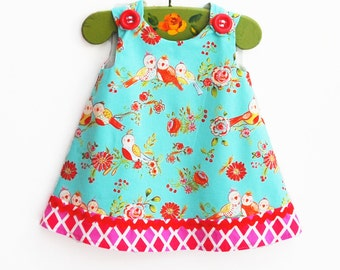 Easter Baby Dress - Children Clothing - Love Birds - Toddler Clothing - Baby Girls - 1st Birthday - Summer Dress - 12M to 4T
