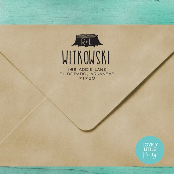 Modern custom self inking address stamp style 222 - Lovely Little Party