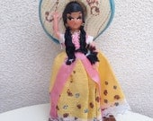 """Vintage kitsch souvenir doll Girl Mexico plastic with hat 8"""""""