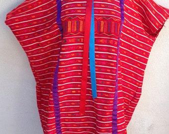 Vintage boho Mexican huipil cotton woven dress top reds handmade sz M L