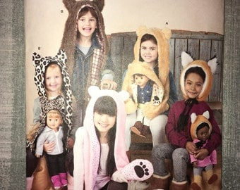 "CLEARANCE Cut & Complete Simplicty Pattern 1514 - Size Sm Med Lg - Animal Hats and Matching 18"" Doll Hats"
