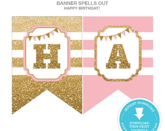 Pink and Gold Glitter Happy Birthday Banner - 1st Birthday Banner - Pink and Gold Birthday Banner - Printable Happy Birthday Banner