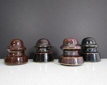Antique Porcelain Insulators // Vintage Brown Glazed Ceramic Rustic Bookends Paperweights Industrial Home Decor Wedding Centerpiece