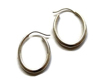 Large Oval Hoop Earrings,  Silver Hoops, Large Oval  Hoops,  Geometric , Artisan Handmade  by Sheri Beryl