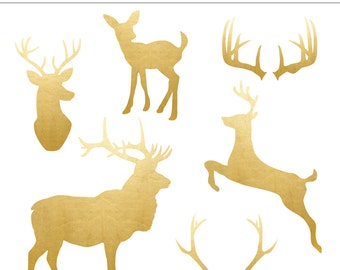 High Quality Gold Foil Deer and Antler Clip Art - 6 Pieces, Stag, Autumn, Winter, Animal, Baby Deer, Antlers, Rustic, Nature, Snow, Buck