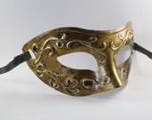 Men's Masquerade Mask Gold Venetian Unisex Domino Antique Gold