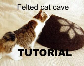 Felt cat cave tutorial - cat bed pattern - downloadable PDF - diy gift