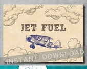 Jet Fuel Sign - 5x7 inches - Vintage Airplane Party - Baby Shower - Birthday - Decorations - Navy Blue - Printable - INSTANT DOWNLOAD