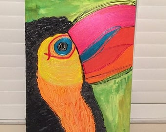 Tropical Toucan - Bright, Whimsical, Colorful Acrylic Painting on Canvas