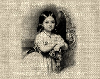 Antique Franch Paris LITTLE GIRL - Large Single Image - Digital Printable to print on Fabric, Iron On Transfer for Tote Bags Pillows