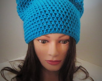 Teal Cat Hat, Crochet Teal Cat beanie, Animal Beanie Hat, Kitten Hat, blue cat hat, Special Gift Under 25. Best Selling Item in Teal.