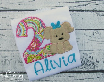 Puppy Birthday Shirt - Dog Shirt - Puppy Theme - Ages 1-9 - Pink Green Blue - Girls Puppy Party - Puppy Paw-ty - Personalized Applique Shirt