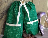 Shoe Pants Travel Bag, Gold Stars on Green with FREE Gift Bag