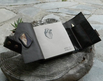 Leather Journal with Australian Petrified Wood Art Journal or Personal Diary with Anatomical Heart Detailing