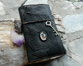 Leather Moleskin Cover Leather Padfolio Travel Organiser with Inlaid Found Butterfly Wings and Antique Key