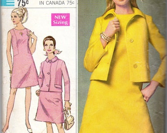 "1960s Women's Shift Dress & Jacket Pattern - Size 12, Bust 34"" - Simplicity 7540"