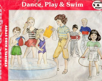 Easy Boys or Girls' Swimsuit, Leotard, Dance Skirt, Shorts, Pants and Knickers Pattern - Size 5, 6, 7 - Sunrise Design C161 uncut