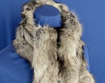 Long Faux Fur Scarf - Textured Silver Fox Faux Fur Scarf