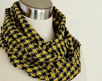 Wool Infinity Scarf - Yellow Black Plaid Circle Scarf