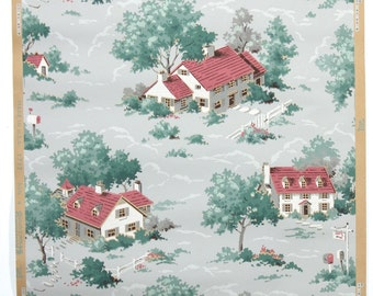REMNANT of Vintage Wallpaper, Single 42 Inch Piece - Segmant of Scenic Wallpaper with White Houses and Red Roofs in Blue and Green Trees