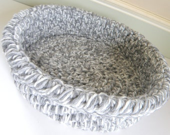 Large Cat Beds, Crochet Travel Pet Bed, Chunky Storage Basket for Magazines or Kitties, in 3 Shades Grey Yarn Tripled up for thickness