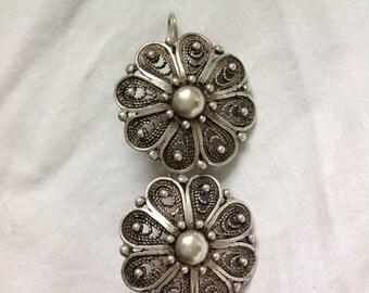 Beautiful Pair Antique Sterling Silver Ornate Flower Filigree Earrings