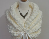 Romantic Wedding Bolero, Crochet Shrug, Ivory Bridal Bolero, Spring Wedding Wrap, Bridal Cape, White Shawl, Bridal Capelet, Knit Shawl