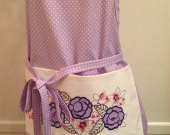 Floral Lilac polka dot women's apron