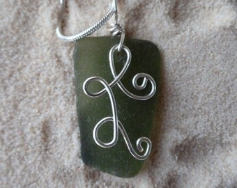 Drilled Green Sea Glass Necklace with Wire Design