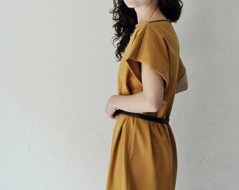 mustard jersey dress oversized shirt dress curry greek style