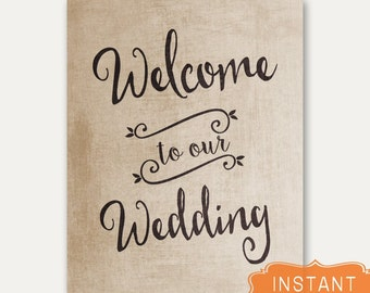 Wedding Sign Welcome Rustic Wedding Signs Instant DIGITAL DOWNLOAD File Quick Wedding Day Decorations Printable Print Signage Brown Vintage