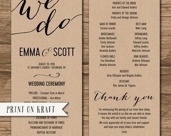 Nautical Wedding Program Order of Ceremony Ceremony Program