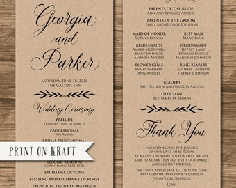 Rustic Wedding Program, Order of Ceremony, Ceremony Program, Order of Service - double-sided - woodland, wreath, leaves - Georgia